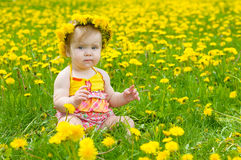 lycklig liten äng för flicka Royaltyfri Foto