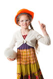 Lycklig liten flicka i hjälmen med ritningen Royaltyfri Bild