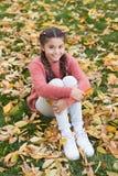 Lycklig liten flicka i sidor och natur för höstskoghöst lycklig barndom Ringklocka som överst sitter av en bunt av böcker Småbarn arkivbilder
