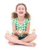Lycklig liten flicka med hönor Royaltyfri Foto