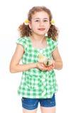 Lycklig liten flicka med hönor Arkivfoton