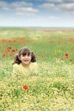 Lycklig liten flicka på vildblommaäng Arkivfoton