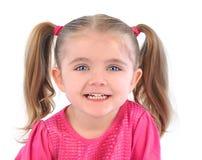 Lycklig liten flicka på vit bakgrund Royaltyfria Foton