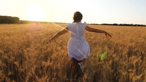 Lycklig liten flicka som spelar och dansar i f?lt av moget vete mot en h?rlig dal, ultrarapid stock video