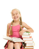 lycklig liten schoolgirl Royaltyfria Foton