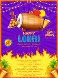Lycklig Lohri feriebakgrund för Punjabifestival stock illustrationer