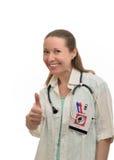 Lycklig lycka för kvinnadoktor arkivfoto