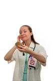Lycklig lycka för kvinnadoktor royaltyfri fotografi