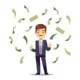 Lycklig lyckad affärsman i pengarregn Finans- och bankrörelsevektorbegrepp stock illustrationer