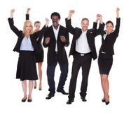 Lycklig mång--ras- grupp av affärsfolk Arkivfoto