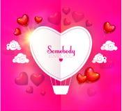 Lycklig mall för design för kort för dag för valentin` s med färgrika och glansiga foliehjärtaballonger, pappersmoln och stället  Fotografering för Bildbyråer