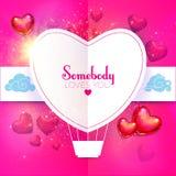 Lycklig mall för design för kort för dag för valentin` s med färgrika och glansiga foliehjärtaballonger, pappersmoln och stället  Royaltyfri Foto