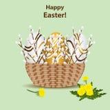 Lycklig mall för påskhälsningkort Vide- korg med färgrikt vektor illustrationer