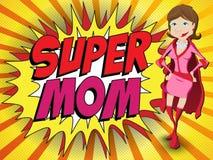 Lycklig mamma för toppen hjälte för mors dag royaltyfri illustrationer