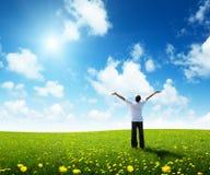 lycklig man för fältgräs Arkivbilder