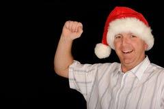 lycklig man för jul arkivbild