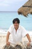 lycklig man för strand Royaltyfri Foto