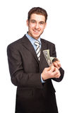Lycklig man med pengar Arkivfoton