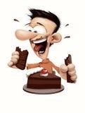 Lycklig man som äter choklad och kakan Royaltyfri Foto