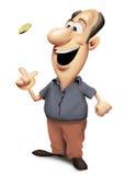 Lycklig man som kastar ett mynt Arkivfoton