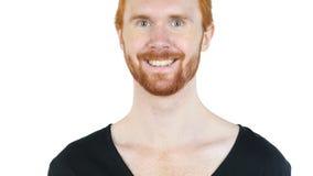 Lycklig man som ler på kameran, vit bakgrund Fotografering för Bildbyråer