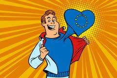 Lycklig manfan, hjärtan för europeisk union Royaltyfria Bilder