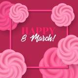 Lycklig 8 mars Vektorkort med ramen och rosor Royaltyfria Bilder