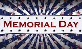 Lycklig Memorial Day bakgrundsmall Stjärnor och amerikanska flaggan patriotiskt baner också vektor för coreldrawillustration Fotografering för Bildbyråer
