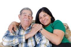 Lycklig mexicansk pensionär med att le dottern royaltyfria foton