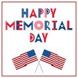 lycklig minnesmärke för dag Hälsningkort med flaggor som isoleras på en vit bakgrund Nationell amerikansk feriehändelse royaltyfri illustrationer