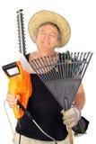 lycklig mitt för åldrig trädgårdsmästare Royaltyfri Bild