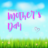 lycklig moder för dag Realistiskt hälsningbaner för dina lyckönskankort på vårbakgrunden med blommor, grönt gräs Fotografering för Bildbyråer
