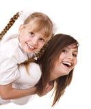 lycklig moder för dotterfamilj Fotografering för Bildbyråer