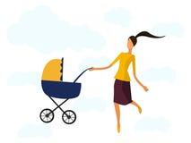 Lycklig moder med en barnvagn, Royaltyfri Fotografi