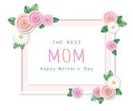 lycklig moder s för dag Det bästa mammahälsningkortet med den blom- ramen Royaltyfri Foto