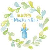 lycklig moder s för dag En ung kvinna, en flicka, en moder med blont hår i en blå klänning, barfota, rymma som kramar henne för a stock illustrationer