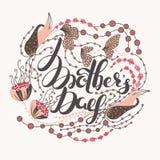 lycklig moder s för dag Vårferie Lyckönsknings- bakgrund med bokstäver i blommor illustration för design för bakgrundbakgrundskor Royaltyfri Fotografi