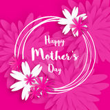 lycklig moder s för dag Rosa blom- hälsningkort internationella s kvinnor för dag Fotografering för Bildbyråer