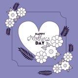 Lycklig moderdag med det blom- garnering- och hjärtakortet vektor illustrationer