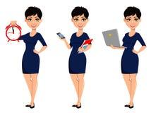 Lycklig modern affärskvinna med kort frisyr stock illustrationer
