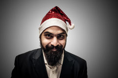 Lycklig modern elegant Santa Claus babbonatale Royaltyfri Fotografi