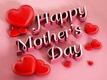 Lycklig moders text och hjärtor för dag på rosa bakgrund fotografering för bildbyråer
