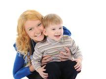 lycklig mom för barn Arkivfoto