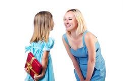 Lycklig mom och dotter Arkivbild