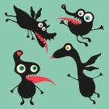 Lycklig monsterillustration Uppsättning 7 Royaltyfri Foto