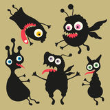 Lycklig monsterillustration Uppsättning 8 Royaltyfri Fotografi