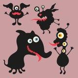 Lycklig monsterillustration Uppsättning 9 Fotografering för Bildbyråer