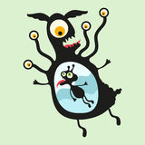Lycklig monsterillustration Uppsättning 18 Arkivfoto