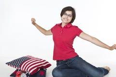 Lycklig morgon för en tonåring Fotografering för Bildbyråer