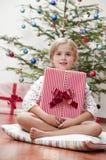 lycklig morgon för jul Arkivfoton